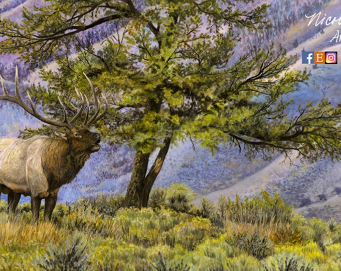 Father's Day Gift Elk Art Mountain Art Elk Painting Elk Hunting Gift for dad Man Cave decor A Mark of Glory Canvas Print by Nicole Heitzman