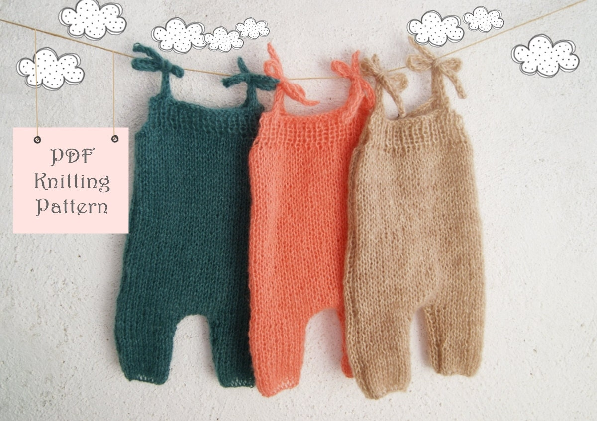 Knitting Patterns For Photography Props : Pdf knitting pattern baby romper newborn to