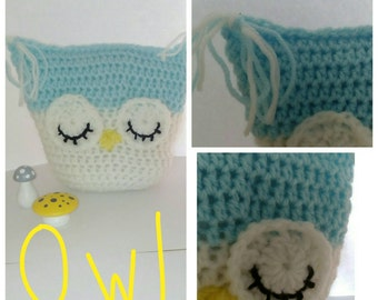 Crochet owl pillow, shelf sitter, shelfie, ornament
