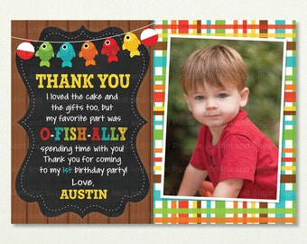 Fishing Thank You Note - Gone Fishing Invitation - Gone Fishing - Fishing Birthday Invitation  - Fish Invitation - Style MSP113