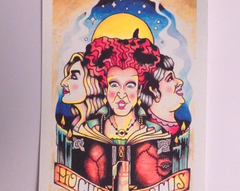 Hocus Pocus tattoo flash print 5x8