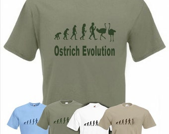 Evolution To Ostrich t-shirt Funny Ostrich Farmer T-shirt sizes Sm TO 2XXL