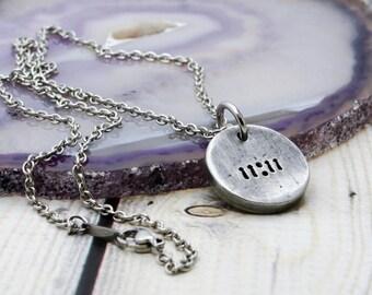 11:11 Pewter Pendant - Women's Rustic Necklace - Ascension Jewelry - Spirituality - Awakening - Make a Wish - 11 11 - Spiritual Gift