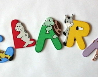 Wooden alphabet letters with animals