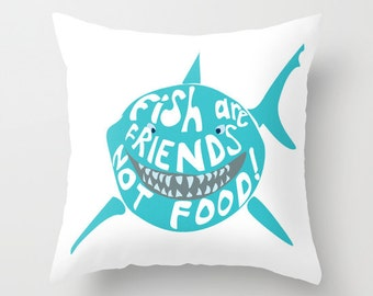 fish are friends not food, finding nemo throw pillow