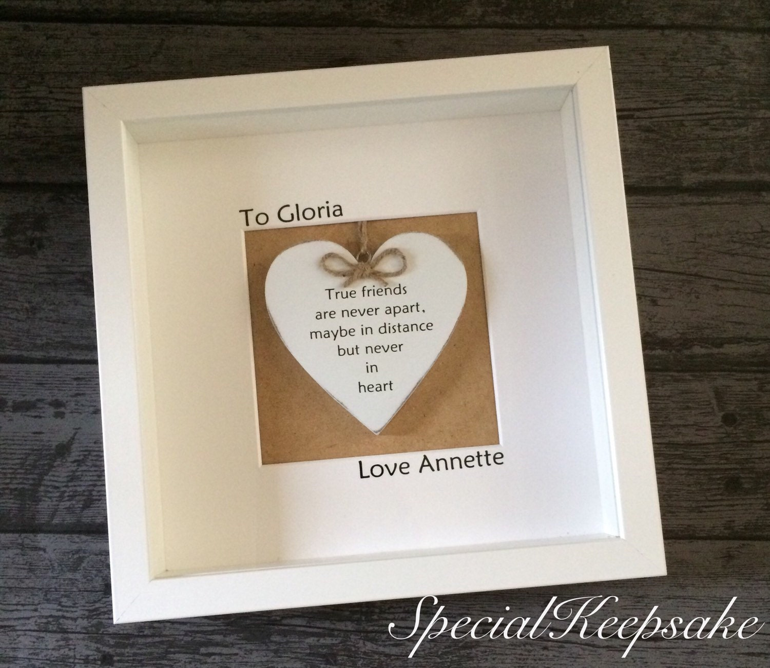 Friendship Picture Frames With Quotes: Shabby Chic Friendship Distance Frame Heart Quote Gift Momento