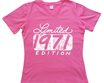 45th Birthday 45 Years Forty Fifth Limited 1971 Edition Gift Ladies V-Neck  T Shirt