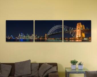 "Sydney Harbour Bridge, Bundle of Three (12"" x 16"") - Canvas Wrap Print"