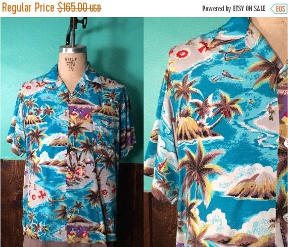 Vintage 1950s Mens Shirt | Aqua Blue Rayon Hawaiian Novelty Print Shirt | Size Large $99.00 AT vintagedancer.com