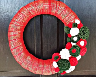 Christmas Ribbon Wreath, Christmas Front Door Decoration, Christmas Wreath with Felt Flowers, Christmas Personalized Weath