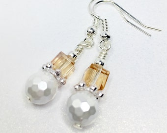 Topaz Crystal Earrings White Pearl Earrings Bridesmaid Gift Mother of the Bride Wedding Jewellery Topaz Wedding Earrings Bridal Earrings