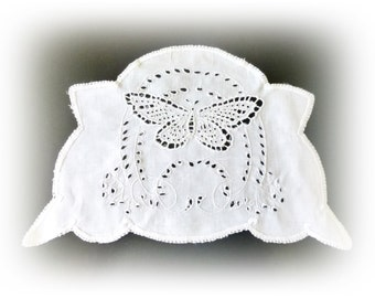Vintage embroidered butterfly doily