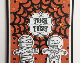"Handmade ""Halloween"" Card - Halloween, Mummy, Skeleton"