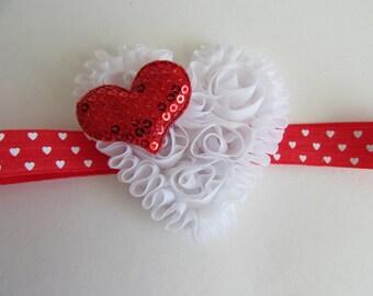Baby Headband, White Heart Headband, Valentine's Day, Heart Headband