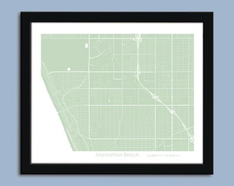 Manhattan Beach map, Manhattan Beach city map art, Manhattan Beach wall art poster, Manhattan Beach decorative map