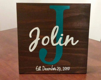 Handpainted Family & Est. Date Sign