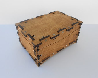 Wood Treasure Box, with extened edges