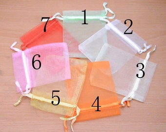 "50 assorted organza bag for craft,Wholesale colorful Drawstring plastic Bags. 3.5""x2.7""."