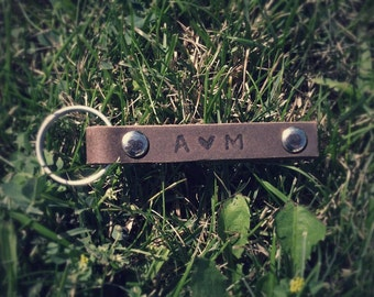 Personalized Leather Keychains, Dark Brown