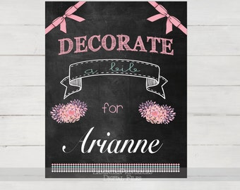 Decorate a Bib baby shower game, floral baby shower, rustic baby shower, chalkboard sign, games printable, baby shower activities, pink