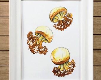 "Original Watercolour Illustration, A5 Wall Art, ""Jellyfish"" Collection"