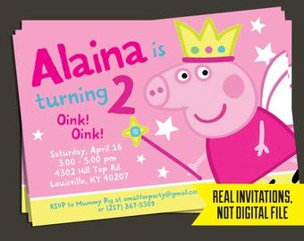 Peppa Pig Invitation   Fairy Peppa Pig Birthday Invitation - Princess Peppa Invitation - Princess Peppa Birthday Invitation - Peppa Pig