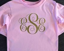 Girls monogram shirt, girls gold monogram shirt
