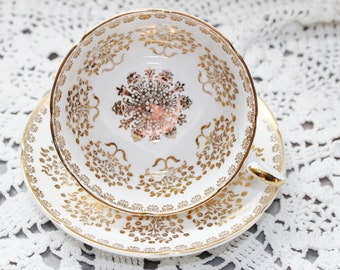 Royal Grafton Teacup and Saucer Gold Gold & More Gold Floral Pattern on White Very Nice
