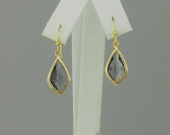 Gray Crystal Pendant Earrings