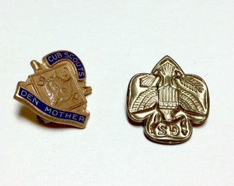 Vintage Scouting pins Girl Scout pin Cub Scout Den Mother pin 1970s