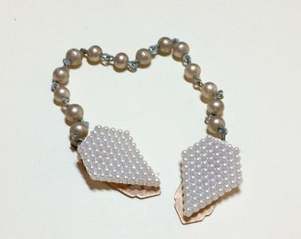 Sweet vintage sweater clip faux pearls vintage sweater guard pearl sweater clip sweater guard collar clip with faux pearl chain 1950s