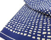 Vintage Vera classic Mad Men inspired navy blue and off white abstract checkered silk scarf. Retro red pumps and nails