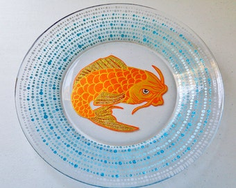 Japanese Koi Fish, Hand Painted Glassware, Plates, Dinnerware, Dishes, Dinner Plate, Salad Plate, Dining Set, Decorative Plate, Asian Gifts