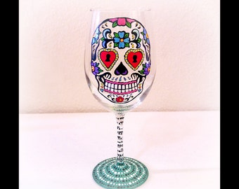 Sugar Skull Wine Glass, Hand Painted Wine Glass, Day of the Dead Glass, Dia De Los Muertos, Skull Wine Glass, Colorful Wine Glasses