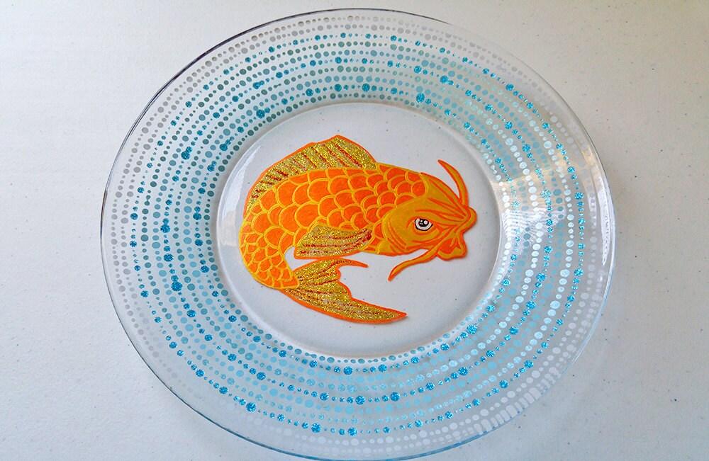 Japanese koi fish hand painted glassware plates dinnerware for Koi fish gifts