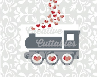 SVG Valentine Train Hearts designs for  Silhouette or other craft cutters (.svg/.dxf/.eps)