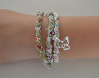 Friendship Bracelets Set Of Two With Clasp And Butterfly Charm/Woven Bracelet/Fabric Bracelet/Braided Bracelets