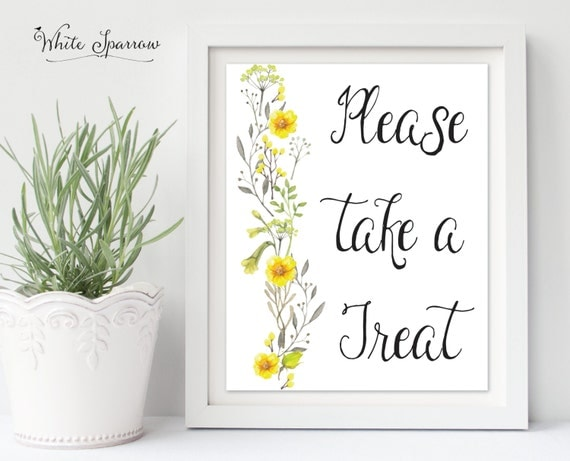 Please Take A Treat Wedding Sign Bridal Shower Decorations