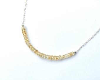 Citrine necklace, November birthstone, birthstone jewellery, citrine gemstone, delicate minimalist layering necklace, gift for her