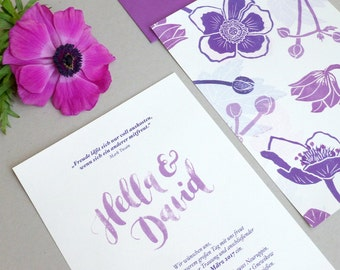 Wedding Invitation - Hand-lettering & Stamped Flowers