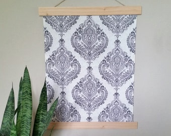 Bohemian Tapestry -Gray and White Damask