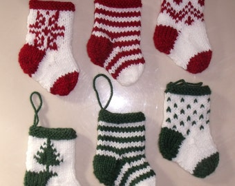 6 MINI CHRISTMAS STOCKING   - hand knit