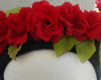 Red roses wedding flower crown