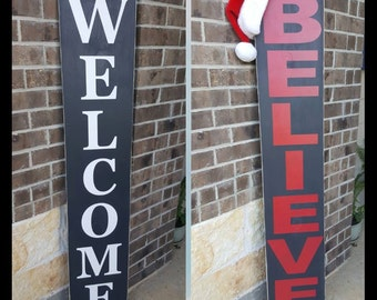 Large Welcome Sign-Welcome-Double Sided-Believe-Wood Sign-Outdoor Sign-Porch Sign-Front Door Sign
