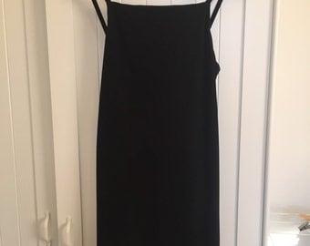 90s black square neck dress