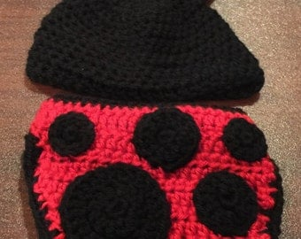 Ladybug Diaper Cover Set - Ladybug Hat and Diaper Cover - Crochet Baby Hat - Newborn Photo Prop - Hat and Nappy Cover Set - Baby Shower Gift