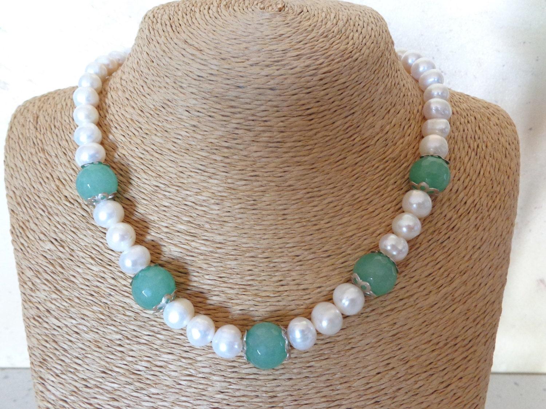 Collana giada verde collana pietre dure collana di perle for Pietre di fiume