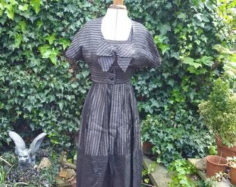 Vintage 1950's pewter grey/black stripe taffeta dress with bolero size UK10