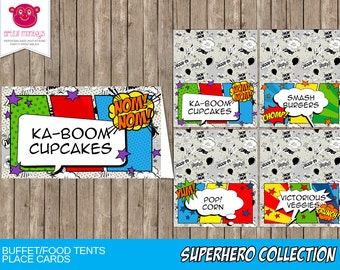 Printable Comic Superhero Buffet/Food Tents or Place Cards   Personalized