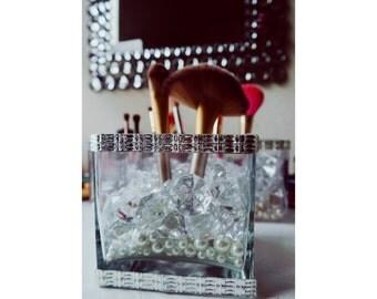 Medium Make up Brush Holder Crystals, Diamonds & Pearls